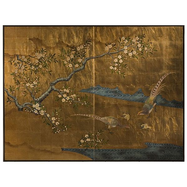 Japanese Wall Screen - Two-panel Japanese Screen ($900) ❤ liked on Polyvore