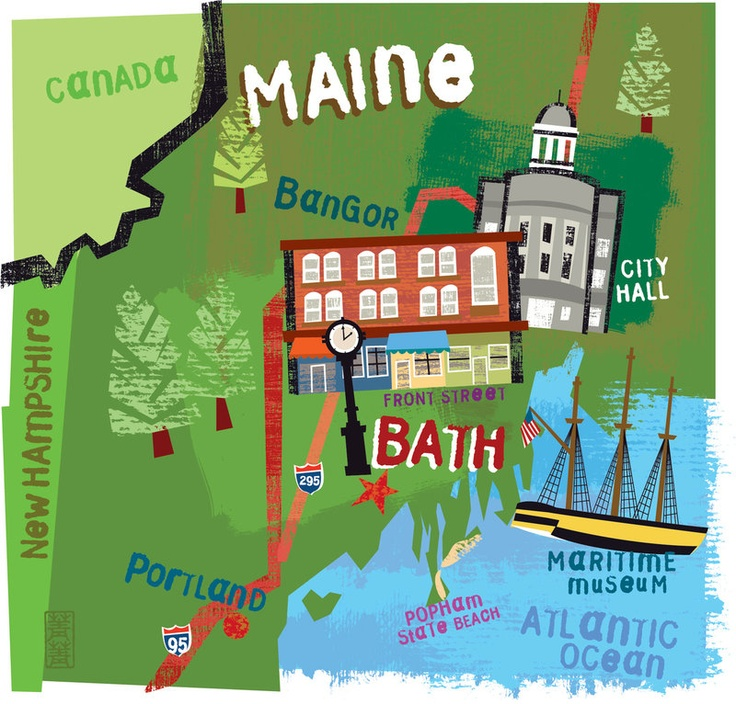 Jing Jing Tsong - Map of Bath, Maine