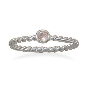 Rhodium Plated Sterling Silver October Birthstone Ring With a 2mm Pink Glass Stone - Size 6 JewelryWeb. $32.30