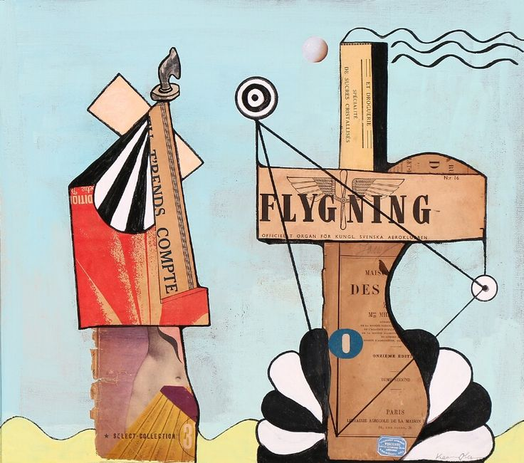 """Flygning"". Sign. Karin Olesen. Mixed media / collage. 38 x 43."