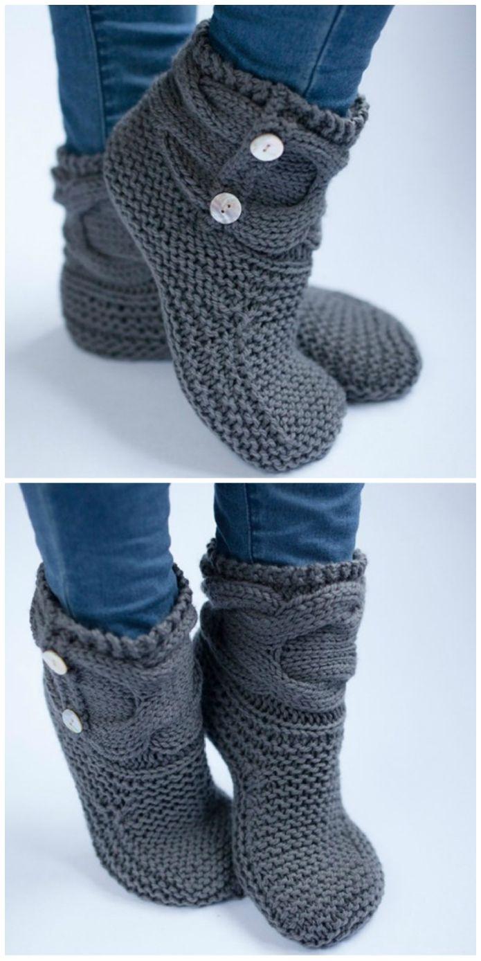 Ladies Knitted Slipper Boots Padrões Livres Você Vai Adorar