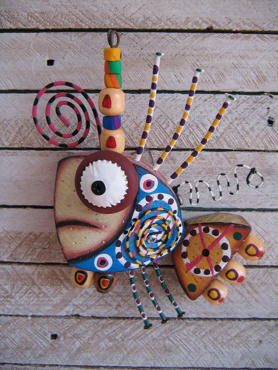 Twisted Fish 128 - Found Object Wall Art by Fig Jam Studio