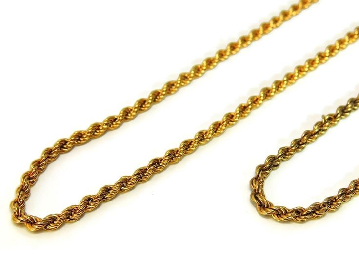 Classic Gold Rope Chain Necklace 14k Vintage