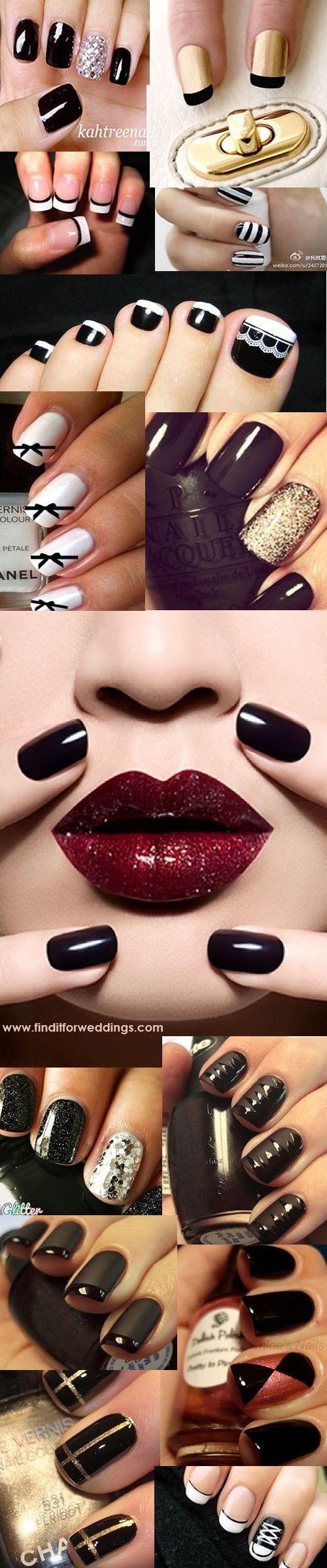 Black# Nails Black nail designs www.finditforweddings.com