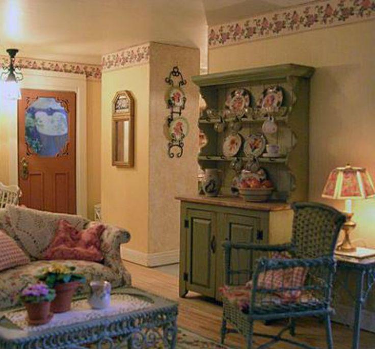Dollhouse Miniature Roombox Sitting Room: 1489 Best Miniature Cottages Images On Pinterest