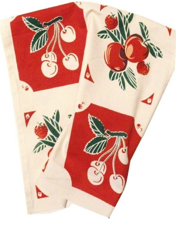 Vintage Style Cherry Kitchen Tea Towel