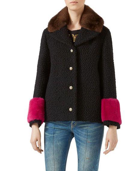 GUCCI Short Caban Coat With Mink Fur, Multicolor. #gucci #cloth #
