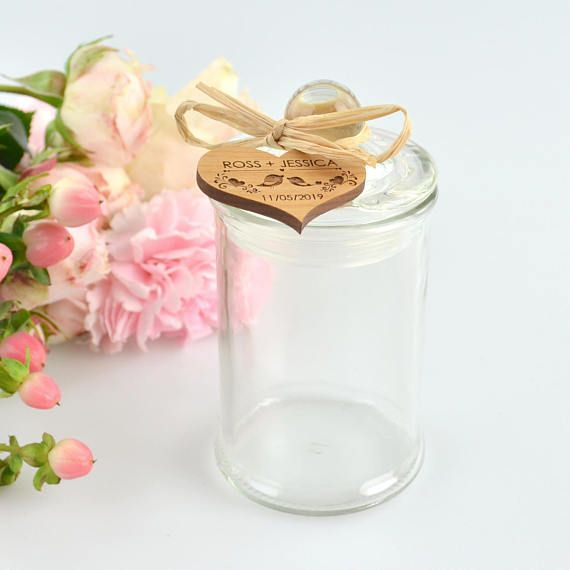 50 x Round Wedding Lolly Jars with Wooden Gift Tag & Raffia