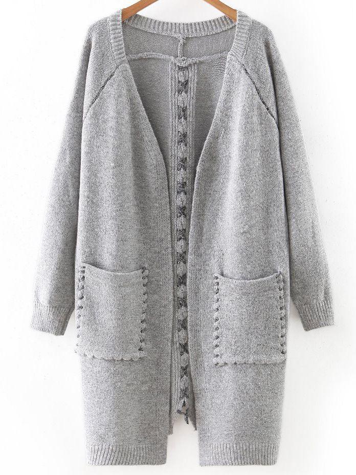 Light Grey Lace Up Detail Pocket Long Sweater Coat