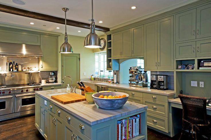 sage green kitchen cabinets | Цветовое решение столешницы в декоре ...