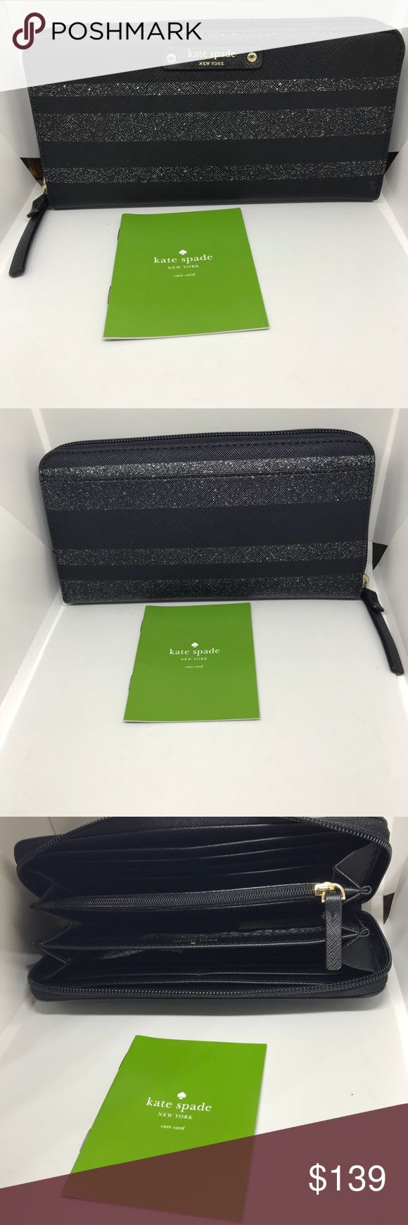 """♠️Kate Spade Glitter Strip Zip Around • Black Glitter Striped zip around wallet *  Full length back slip pocket *  Fully lined in signature print *  12 credit card slips  *  Center zipper coin compartment *  2 billfold slips & 3 open drop areas *  Care card included MEASURES: 4""""(h) x 8""""(L) kate spade Bags Wallets"""