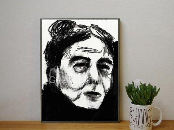 Simone de Beauvoir Portrait Zeichnung Fine von GalerieMiniMal