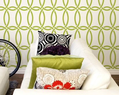 Large Modern Wall Stencil Graphic Pattern-Chain Link Allover Stencil for DIY Wall Decor. $39.00, via Etsy.