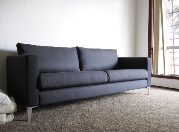 Karlstad couch in dark grey with metal legs interior for Ikea sofa legs interchangeable