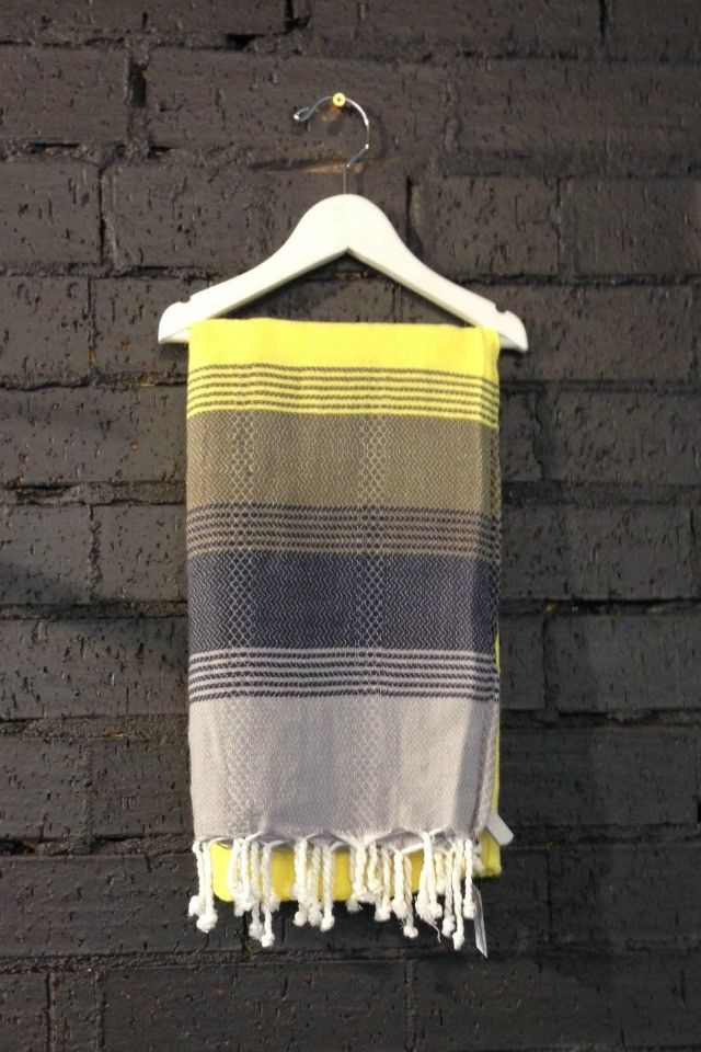 Carousel Multi Turkish Towels in Black and Yellow