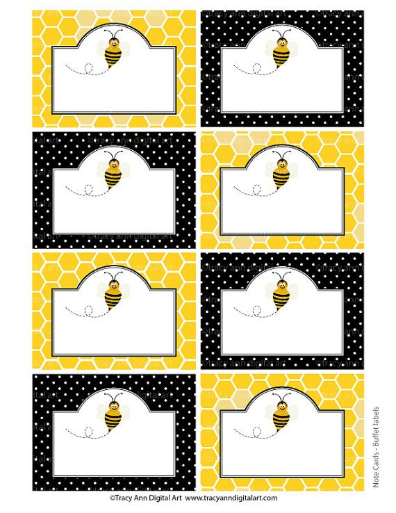 Do it yourself - Honey Bee Printable Buffet Labels or Notecards.  Eight cards per sheet (approx 2.5 x 3.5 each)  High quality PDF and JPG
