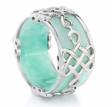 Jade ring with silver detail