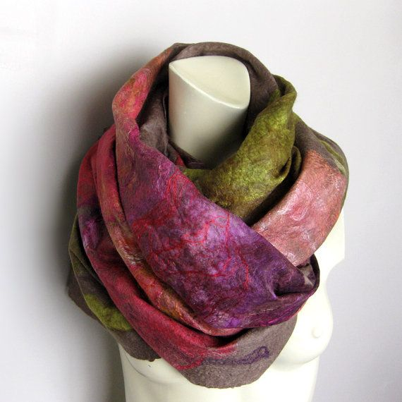 Cobweb Felted Scarf Wool Silk Shawl Ash Brown