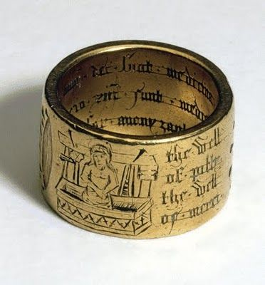 Coventry Ring, gold, 15th-century.  This shows an image of Christ, of the iconographic type known as the 'Image of Pity', and images of the Five Wounds. Inscriptions give the 'names' of the wounds: 'the well of confort', 'the well of gracy [grace]', the well of pitty', 'the well of merci'. Christ's side-wound (devotion to which ultimately gave rise to the cult of the Sacred Heart, which also used well-symbolism extensively) is called 'the well of evver lastingh lyffe'.