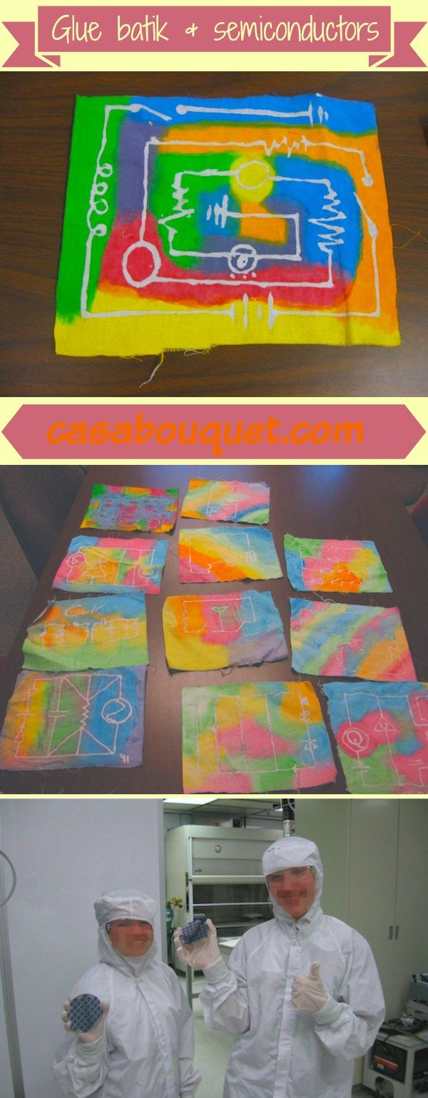 Activity for children used glue batik on fabric to show how silicon chips are made. Includes electric circuit diagrams for grades 4-12.