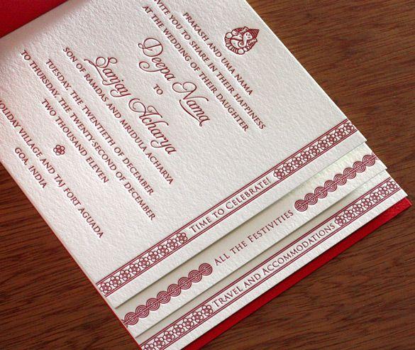 Incredible custom #Indian #wedding invitation book in #letterpress.  So beautiful!
