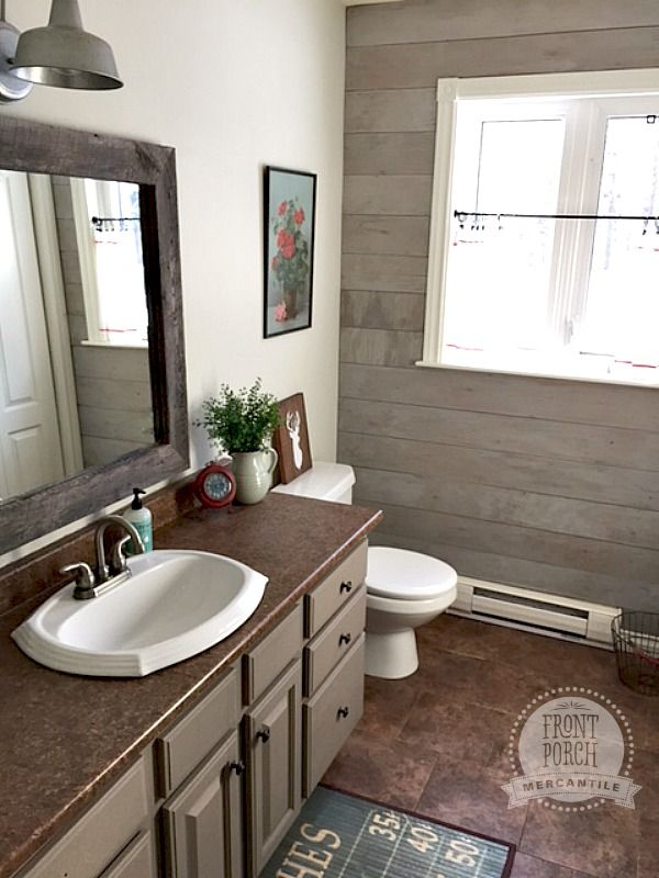 Plank Wall Bathroom Reno Front Porch Mercantile Mms Milk Paint
