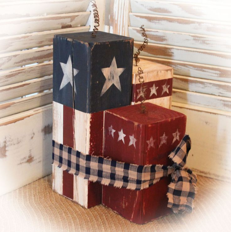 Americana Firecracker, Set of 3 Primitive Patriotic Stars and Stripes Flag Fence Post Blocks, Shelf Sitter by TheSimplifiedHeart on Etsy