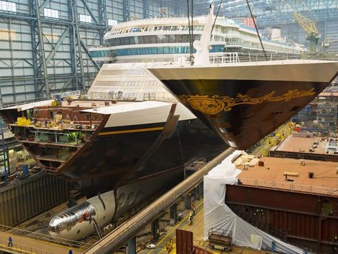 The Disney Fantasy under construction at the Meyer Werft shipyard in Papenburg, Germany