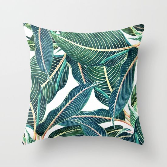 Botanical Painting on a pillow!! #furnishings #indoors #design #decorating #society6 #society6pillows #decorativepillows #green #plants #tropical #exotic #natural #interiordesign #homefocus #houseinteriors #livingspaces