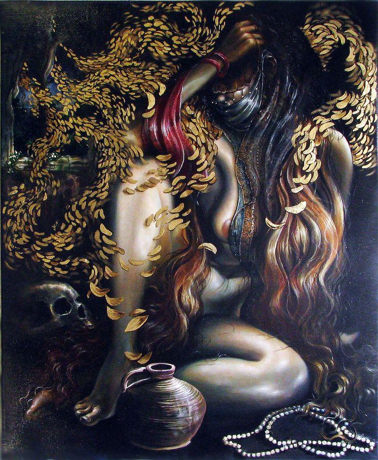 Salomé, 2015, óleo y pan de oro sobre lienzo, 70 x 63 cm.