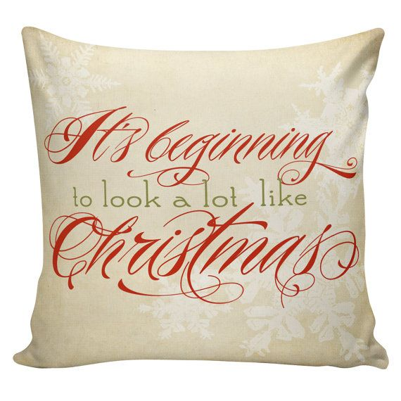 Items similar to holiday pillow cover its beginning to look a lot like christmas snowflakes french style burlap cotton throw pillow on etsy