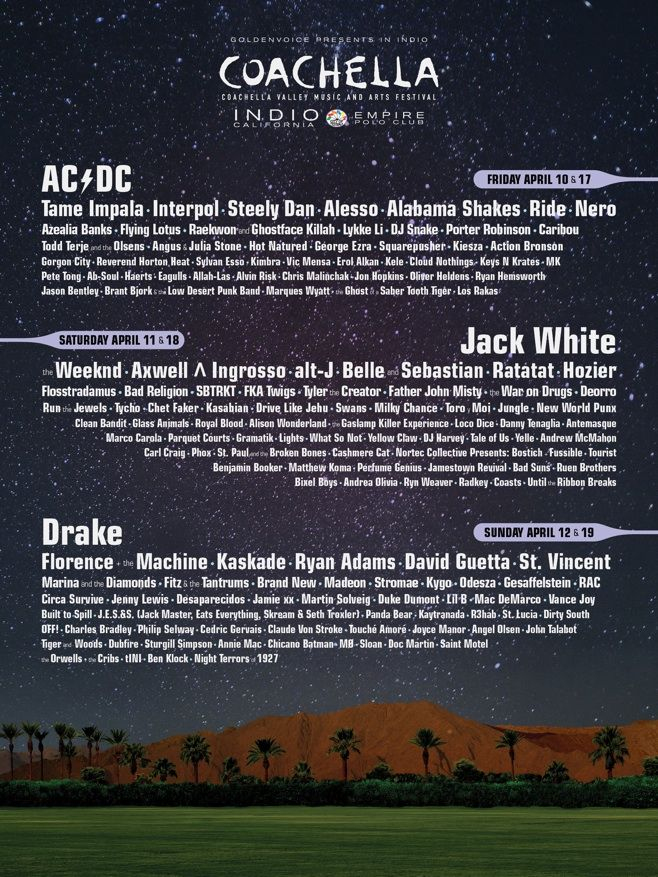 COACHELLA 2015 LINEUP: JACK WHITE, DRAKE AND AC/DC TO HEADLINE.
