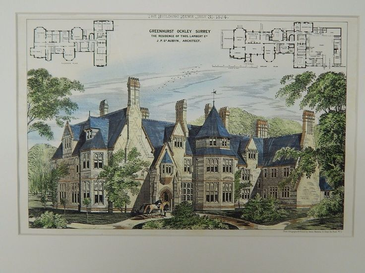 Greenhurst, Residence of Thomas Lambert, built in Ockley, Surrey, UK, 1874.  Original Plan by J. P. St. Aubyn.