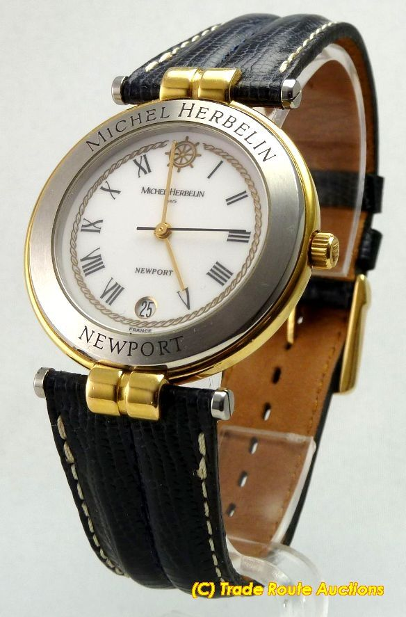 Men's Watches - MICHEL HERBELIN LARGE SIZE ROUND DIAL DATE Newport ...