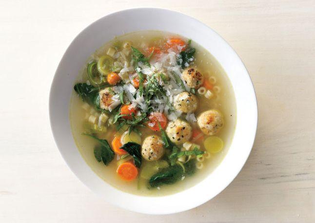 Whatever's-In-the-Fridge SoupDelish Chicken, Fun Recipe, Minestrone Soup, Chicken Meatballs, Bon Appetit, Meatballs Recipe, Spring Minestrone, Meatball Recipes, Favorite Recipe