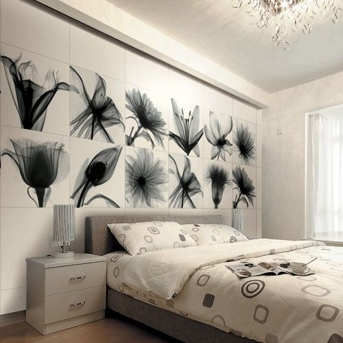 Black And White Flower Printed Tiles Look Fabulous On This Feature Bedroom  Wall. #bedroom