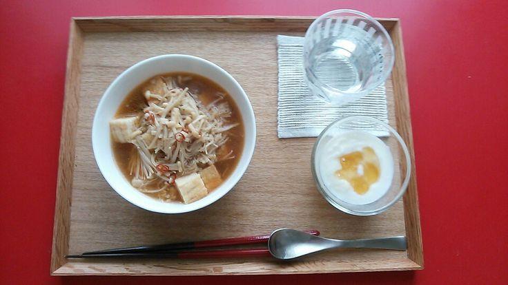 えのきと厚揚げの中華煮、ヨーグルト