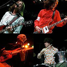 Redd Kross.  Indie rock band who channels early 60's pop, with songs that sound like Monkees and early Beatles.  Try http://spoti.fi/xNhs5D