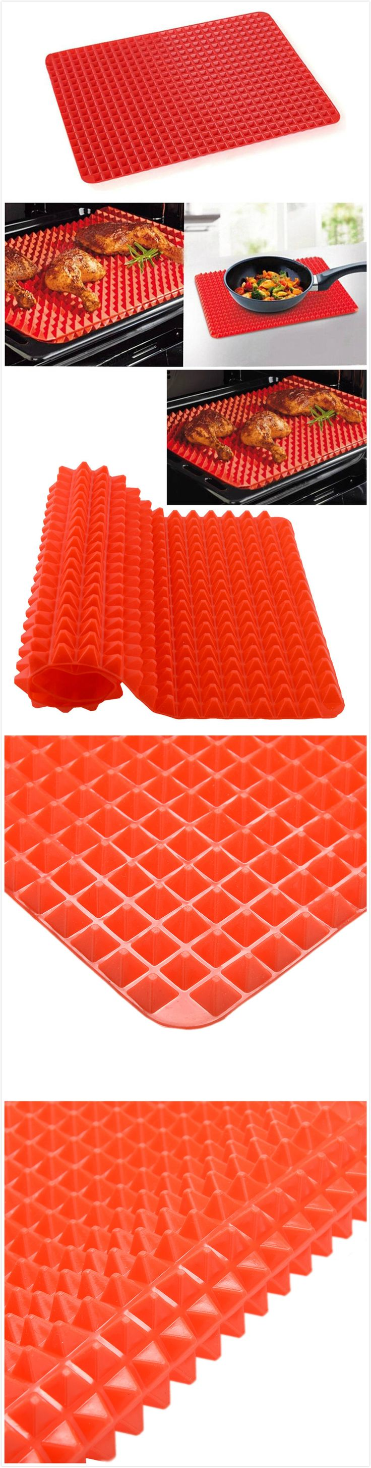 1 Piece Red Pyramid Bakeware Pan Nonstick Silicone Baking Mats Pads Moulds Cooking Mat Oven Baking Tray Sheet Kitchen Tools (Size: 39cm by 27cm by 1cm, Color: Red)