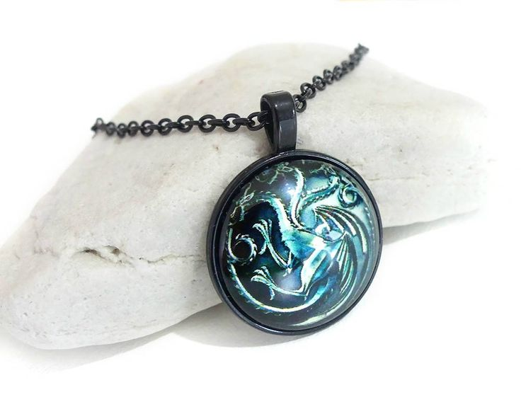 Excited to share the latest addition to my #etsy shop: Khaleesi Dragons, Game Of Thrones Necklace, Game Of Thrones Gifts, Game Of Thrones Jewelry, Popular Necklaces, Dragon Jewelry, Unisex Gifts http://etsy.me/2DmCu9m #jewellery #necklace #black #glass #boys #green #fa