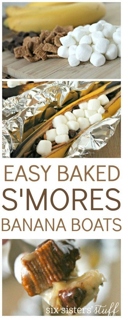 Easy baked S'mores banana boats recipe. Perfect dessert for summer.