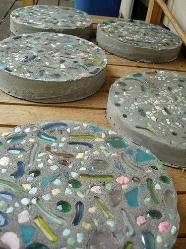 Learn how to make beautiful garden stepping stones and personalized tile trivets by using ceramic tiles and other craft supplies at home.
