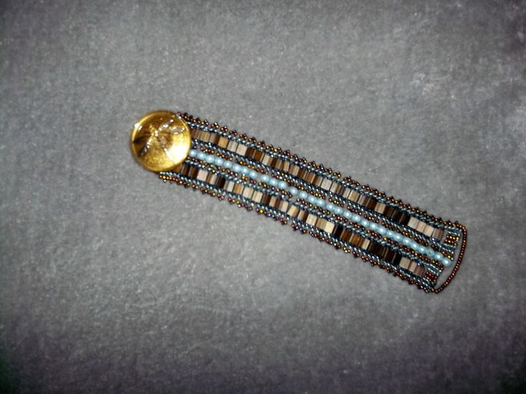 Tila beaded bracelet with faux pearls and seed beads and Czech glass button