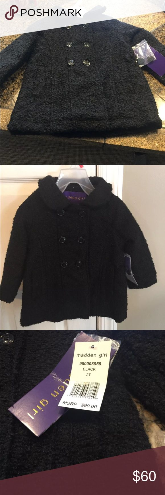 Steve Madden Madden Girl 2T peacoat NWT Brand new with tags Madden girl Peacoat. Lined. Has pockets. Adorable Madden Girl Jackets & Coats Pea Coats