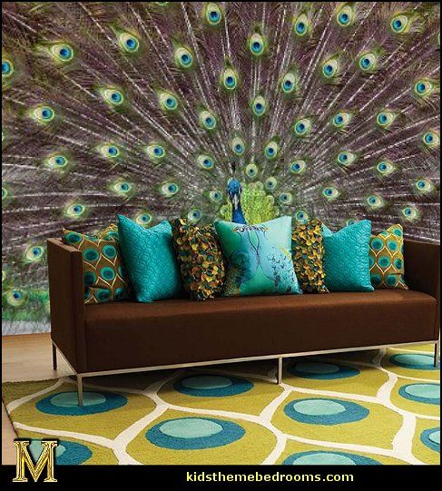 peacock rug-peacock throw pillows-peacock wall murals-maries manor.
