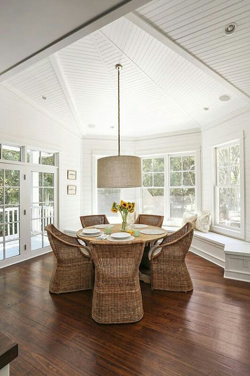 Lovely sunroom extension with tongue and groove ceiling, colonial bar windows and doors, window seat and timber floors.#Home Envy - Google+ #sunroom #diningroom