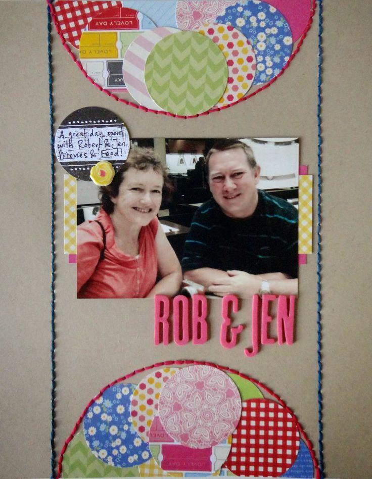 Bob & Jen layout by Lauren Matthews for Polly! Scrap Kits Sketch Duet, and using Rainbow Lollipop kit