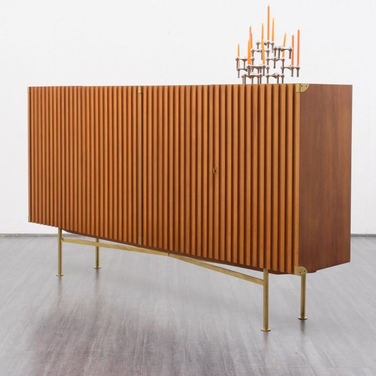 Elegant 1950s highboard with fluted doors, walnut - -