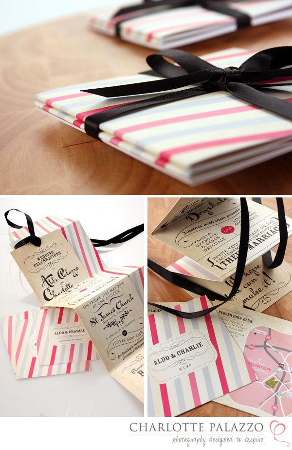 Candy stripe inspired wedding invite
