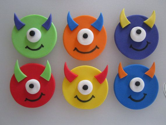 Monster Cupcake/Cookie Toppers 1 Dozen by sweetenyourday on Etsy, $12.00